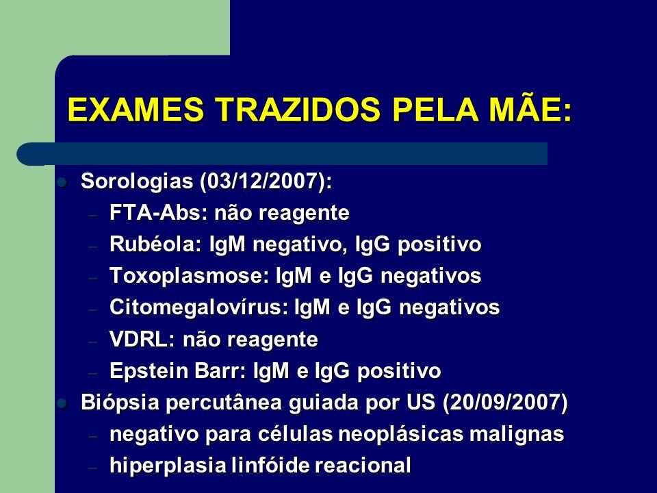 Bioquímica (15/01/09) – VHS: 4 – TGO: 18 – TGP: 10 – LDH: falta reagente – Gama GT: 18