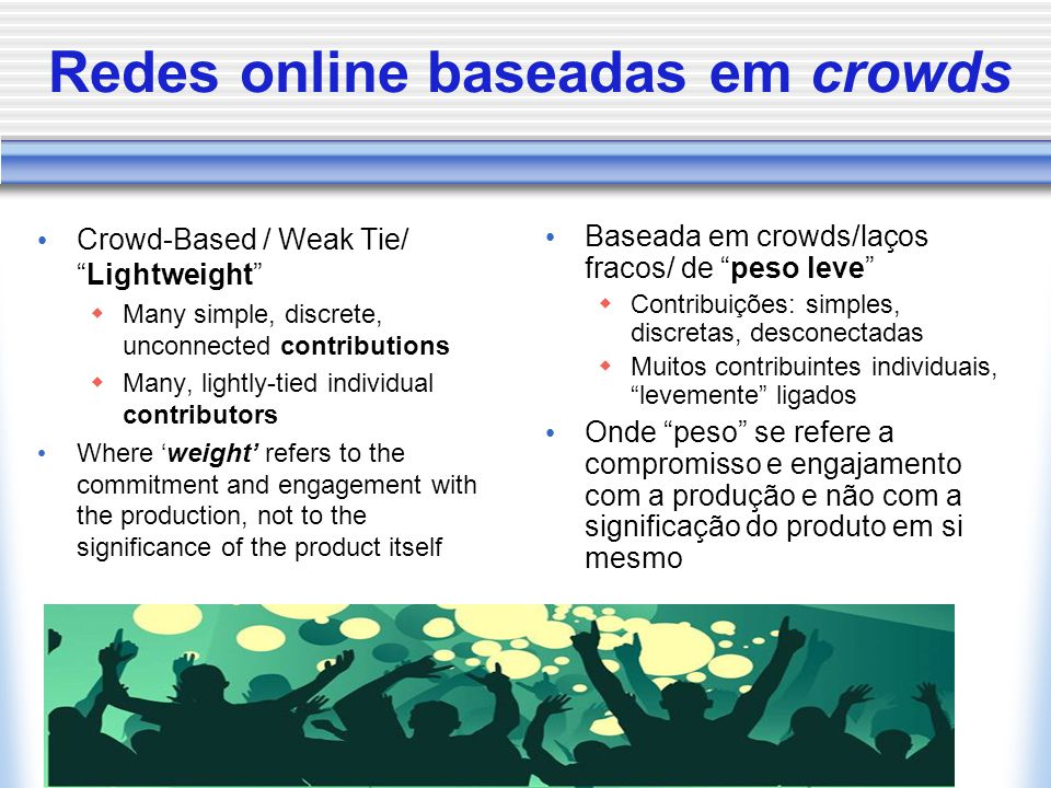 Redes online baseadas em crowds Crowd-Based / Weak Tie/ Lightweight  Many simple, discrete, unconnected contributions  Many, lightly-tied individual contributors Where 'weight' refers to the commitment and engagement with the production, not to the significance of the product itself Baseada em crowds/laços fracos/ de peso leve  Contribuições: simples, discretas, desconectadas  Muitos contribuintes individuais, levemente ligados Onde peso se refere a compromisso e engajamento com a produção e não com a significação do produto em si mesmo