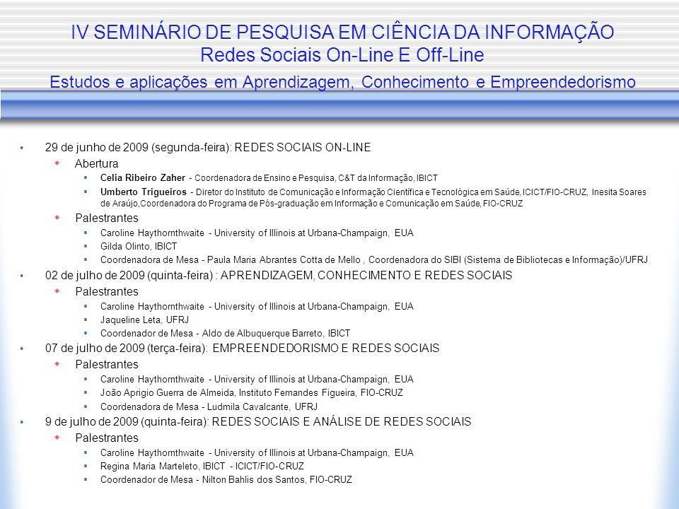 IV SEMINÁRIO DE PESQUISA EM CIÊNCIA DA INFORMAÇÃO Redes Sociais On-Line E Off-Line Estudos e aplicações em Aprendizagem, Conhecimento e Empreendedorismo 29 de junho de 2009 (segunda-feira): REDES SOCIAIS ON-LINE  Abertura  Celia Ribeiro Zaher - Coordenadora de Ensino e Pesquisa, C&T da Informação, IBICT  Umberto Trigueiros - Diretor do Instituto de Comunicação e Informação Científica e Tecnológica em Saúde, ICICT/FIO-CRUZ, Inesita Soares de Araújo,Coordenadora do Programa de Pós-graduação em Informação e Comunicação em Saúde, FIO-CRUZ  Palestrantes  Caroline Haythornthwaite - University of Illinois at Urbana-Champaign, EUA  Gilda Olinto, IBICT  Coordenadora de Mesa - Paula Maria Abrantes Cotta de Mello, Coordenadora do SIBI (Sistema de Bibliotecas e Informação)/UFRJ 02 de julho de 2009 (quinta-feira) : APRENDIZAGEM, CONHECIMENTO E REDES SOCIAIS  Palestrantes  Caroline Haythornthwaite - University of Illinois at Urbana-Champaign, EUA  Jaqueline Leta, UFRJ  Coordenador de Mesa - Aldo de Albuquerque Barreto, IBICT 07 de julho de 2009 (terça-feira): EMPREENDEDORISMO E REDES SOCIAIS  Palestrantes  Caroline Haythornthwaite - University of Illinois at Urbana-Champaign, EUA  João Aprigio Guerra de Almeida, Instituto Fernandes Figueira, FIO-CRUZ  Coordenadora de Mesa - Ludmila Cavalcante, UFRJ 9 de julho de 2009 (quinta-feira): REDES SOCIAIS E ANÁLISE DE REDES SOCIAIS  Palestrantes  Caroline Haythornthwaite - University of Illinois at Urbana-Champaign, EUA  Regina Maria Marteleto, IBICT - ICICT/FIO-CRUZ  Coordenador de Mesa - Nilton Bahlis dos Santos, FIO-CRUZ
