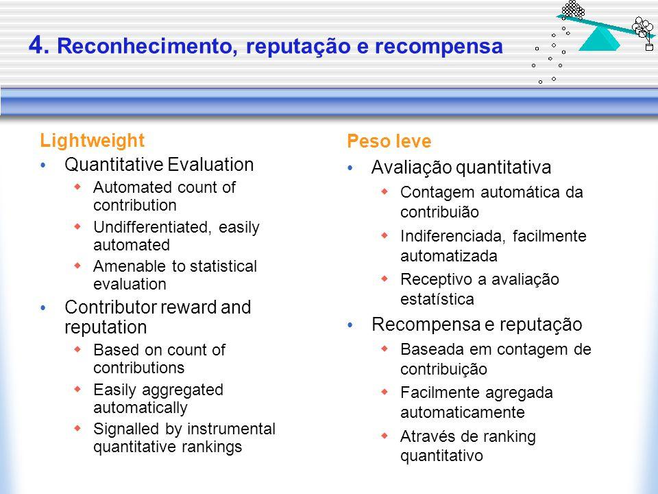 4. Reconhecimento, reputação e recompensa Lightweight Quantitative Evaluation  Automated count of contribution  Undifferentiated, easily automated 