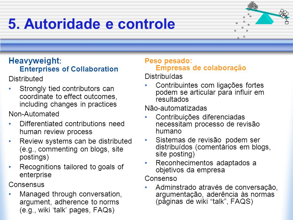 5. Autoridade e controle Heavyweight : Enterprises of Collaboration Distributed Strongly tied contributors can coordinate to effect outcomes, includin