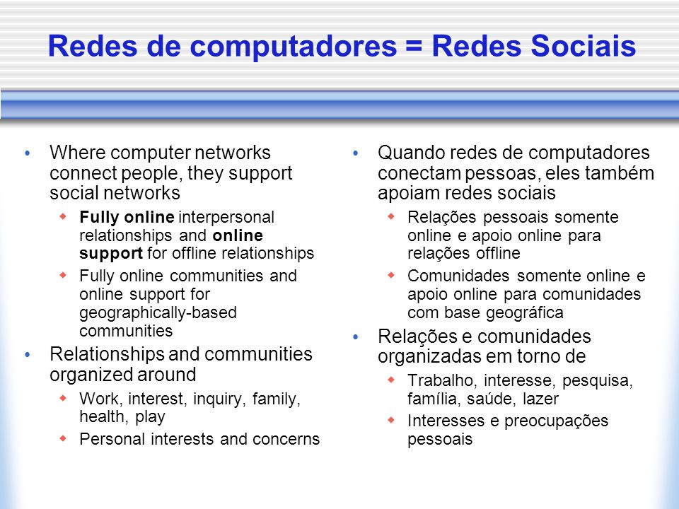 Comunidade como rede Community Lost  Loss of the village ideal Community Saved  Rediscovery of local community in the towers of urban living Liberated or Networked Community (Wellman)  Based on the concept of social networks, with a focus social connections rather than geographic co-location  Place independent, liberated from geography  Personal communities sustained through communication and travel Online or Virtual Community  Liberated from geography, sustained through technology Comunidade perdida  Aldeia ideal perdida Comunidade salva  Redescoberta nas torres da vida urbana Comunidade em rede (Wellman)  Baseada no conceito de redes sociais  Liberada da geografia  Baseada na comunidade pessoal Online / Virtual Comunidade  Liberada da geografia, dependente da tecnologia