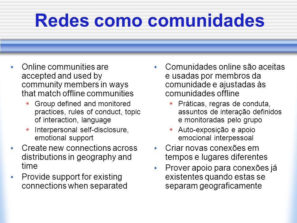 Expectativas a respeito de redes online Research and theory predict that people who are weakly tied will: Be passive about contacting each other Wait for feedback via one medium rather than branch out to another medium Not add new media to their joint use  NB.