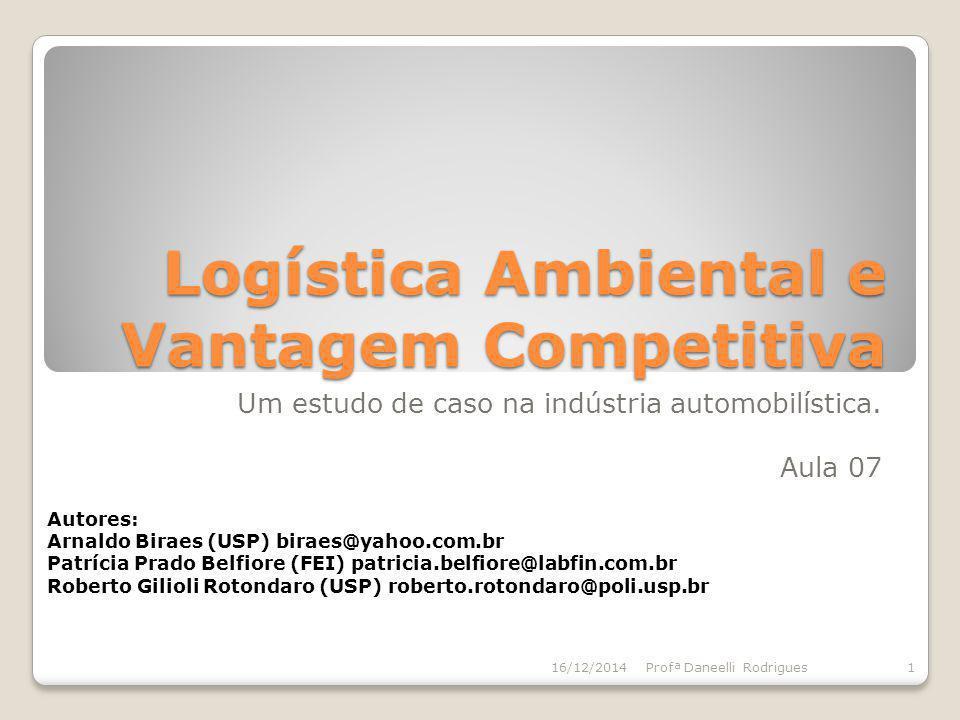 Logística Ambiental e Vantagem Competitiva Um estudo de caso na indústria automobilística. Aula 07 16/12/20141Profª Daneelli Rodrigues Autores: Arnald