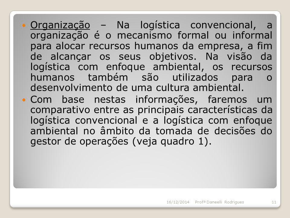 Organização – Na logística convencional, a organização é o mecanismo formal ou informal para alocar recursos humanos da empresa, a fim de alcançar os