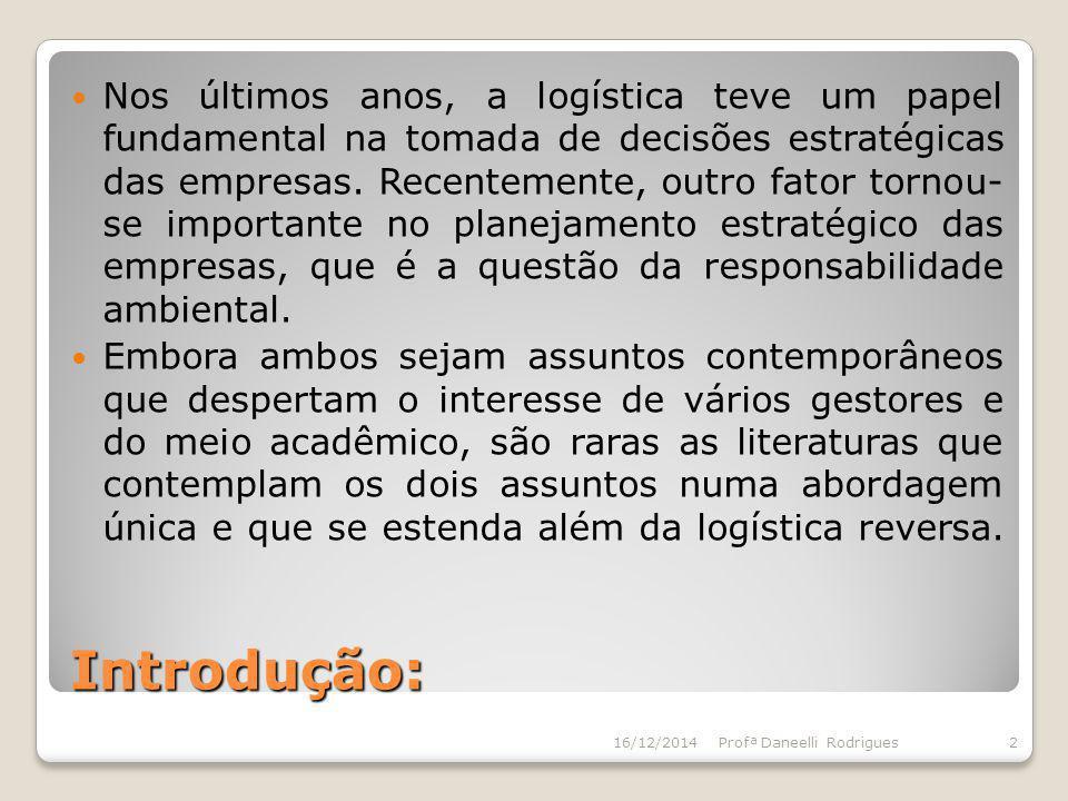 Introdução: Nos últimos anos, a logística teve um papel fundamental na tomada de decisões estratégicas das empresas. Recentemente, outro fator tornou-