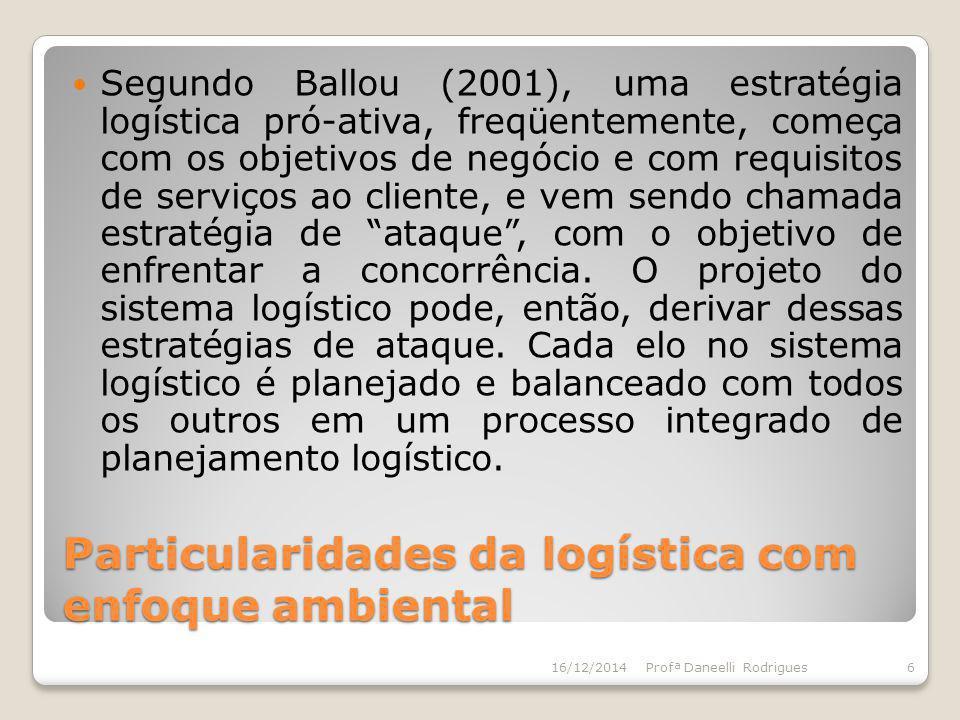 Particularidades da logística com enfoque ambiental Segundo Ballou (2001), uma estratégia logística pró-ativa, freqüentemente, começa com os objetivos