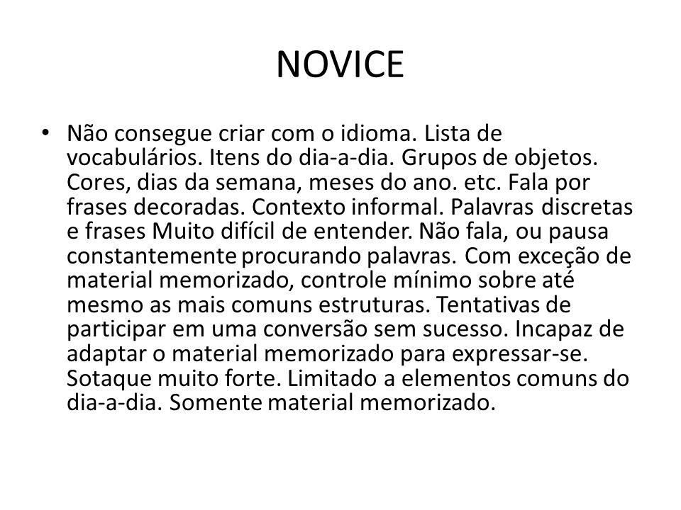 NOVICE Não consegue criar com o idioma.Lista de vocabulários.