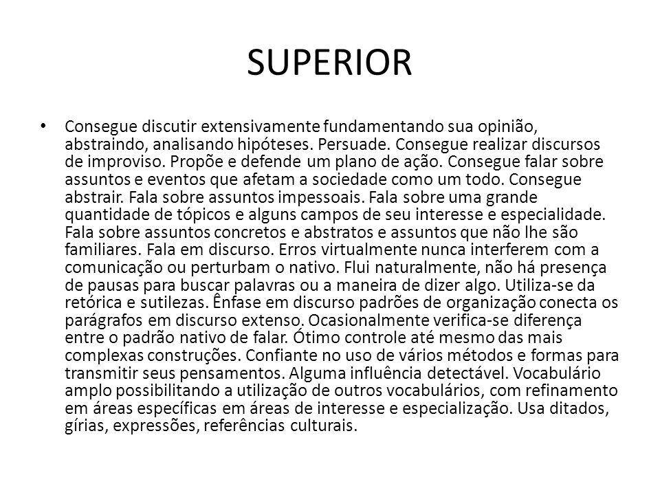 SUPERIOR Consegue discutir extensivamente fundamentando sua opinião, abstraindo, analisando hipóteses.