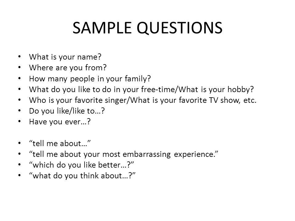 Appendix: Sample question template for novice to intermediate (Warm-up) Hello.
