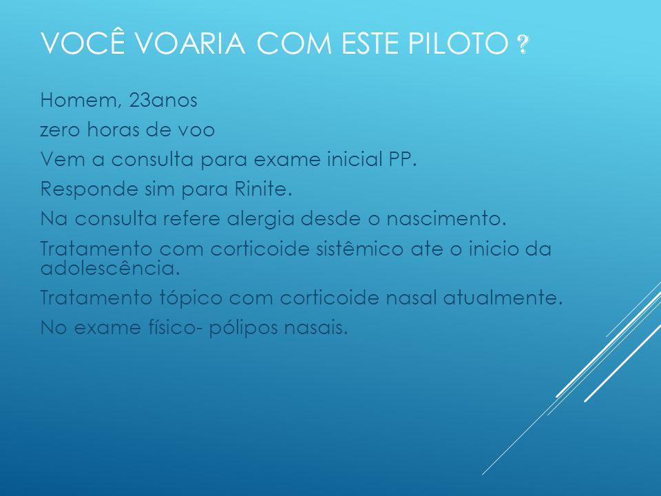 VOCÊ VOARIA COM ESTE PILOTO . Homem, 23anos zero horas de voo Vem a consulta para exame inicial PP.