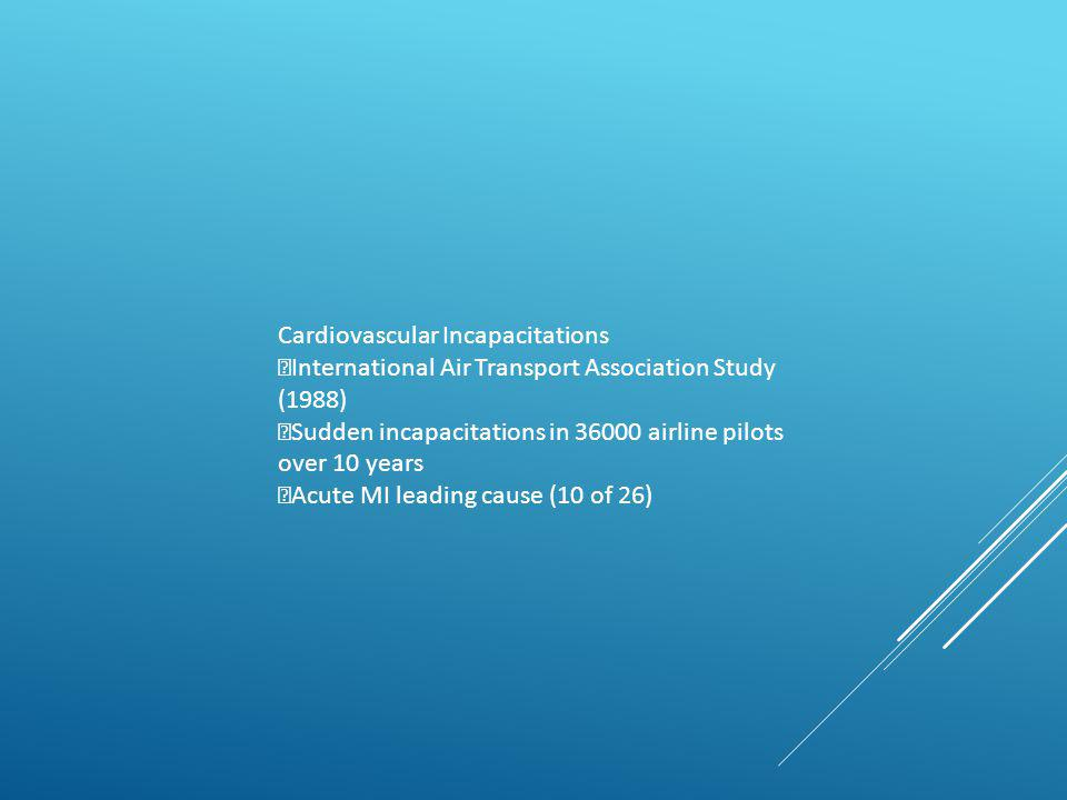 Cardiovascular Incapacitations International Air Transport Association Study (1988) Sudden incapacitations in 36000 airline pilots over 10 years Acute MI leading cause (10 of 26)