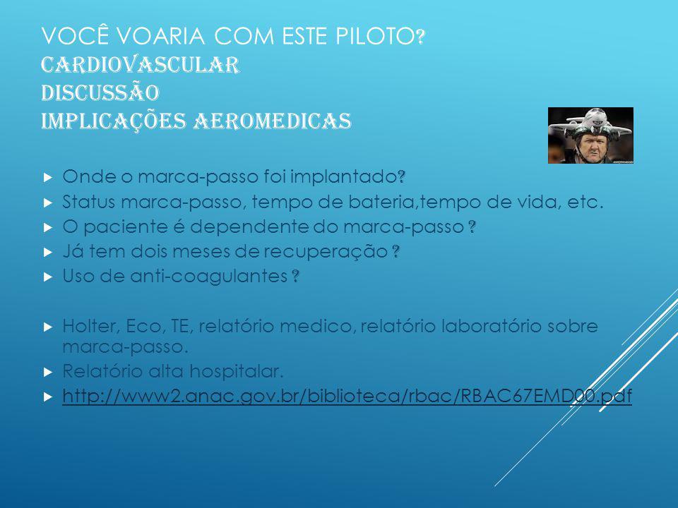 VOCÊ VOARIA COM ESTE PILOTO .Homem, 23anos zero horas de voo Vem a consulta para exame inicial PP.