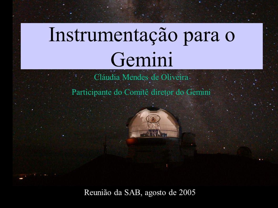 Instrumentação para o Gemini Cláudia Mendes de Oliveira Participante do Comitê diretor do Gemini Reunião da SAB, agosto de 2005