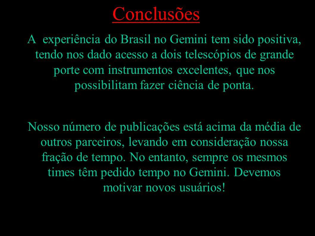 1) A experiência do Brasil no Gemini tem sido positiva, tendo nos dado acesso a dois telescópios de grande porte com instrumentos excelentes, que nos possibilitam fazer ciência de ponta.