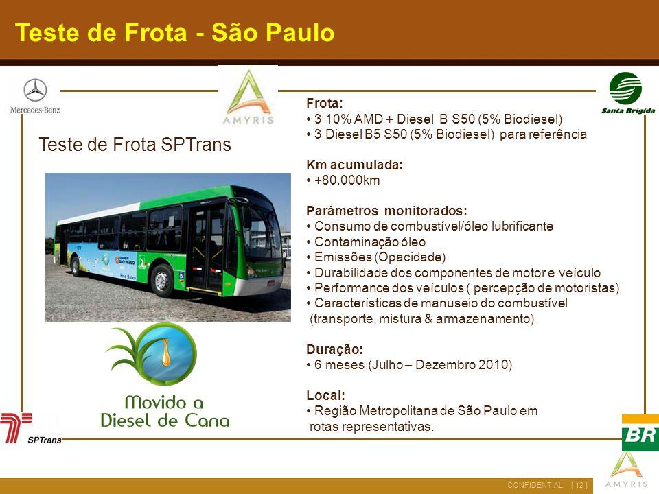 [ 12 ]CONFIDENTIAL Teste de Frota - São Paulo Teste de Frota SPTrans Frota: 3 10% AMD + Diesel B S50 (5% Biodiesel) 3 Diesel B5 S50 (5% Biodiesel) par