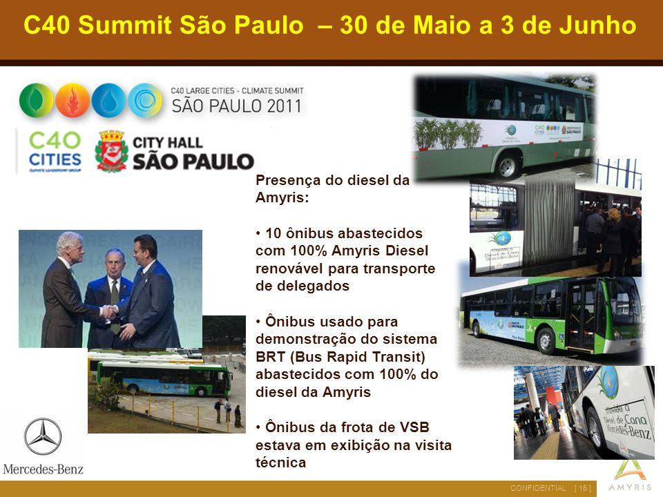 [ 15 ]CONFIDENTIAL C40 Summit São Paulo – 30 de Maio a 3 de Junho Presença do diesel da Amyris: 10 ônibus abastecidos com 100% Amyris Diesel renovável