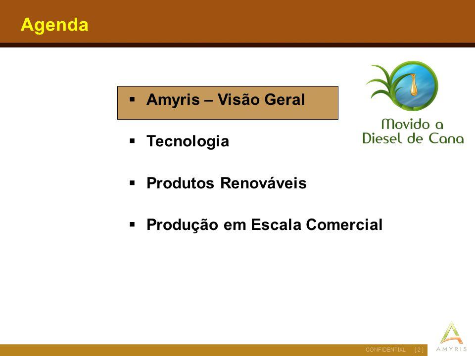 [ 2 ]CONFIDENTIAL Agenda  Amyris – Visão Geral  Tecnologia  Produtos Renováveis  Produção em Escala Comercial