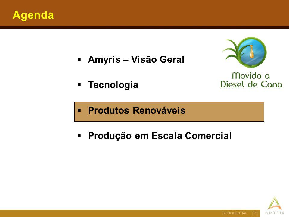 [ 7 ]CONFIDENTIAL Agenda  Amyris – Visão Geral  Tecnologia  Produtos Renováveis  Produção em Escala Comercial