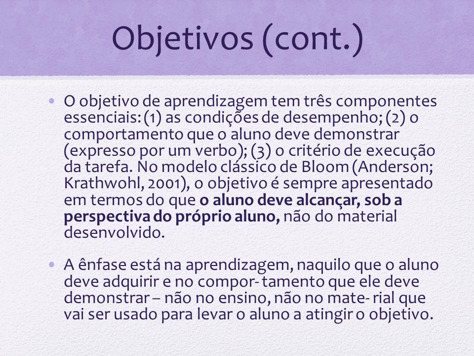 Exemplos É objetivo de aprendizagem: ao ler um texto o aluno deverá ser capaz de identificar três idéias principais .