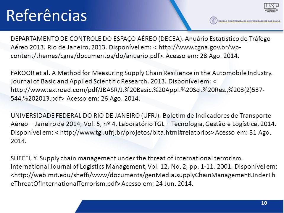 Referências 10 DEPARTAMENTO DE CONTROLE DO ESPAÇO AÉREO (DECEA). Anuário Estatístico de Tráfego Aéreo 2013. Rio de Janeiro, 2013. Disponível em:. Aces