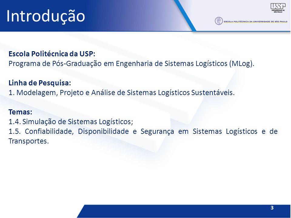 Introdução Escola Politécnica da USP: Programa de Pós-Graduação em Engenharia de Sistemas Logísticos (MLog). Linha de Pesquisa: 1. Modelagem, Projeto