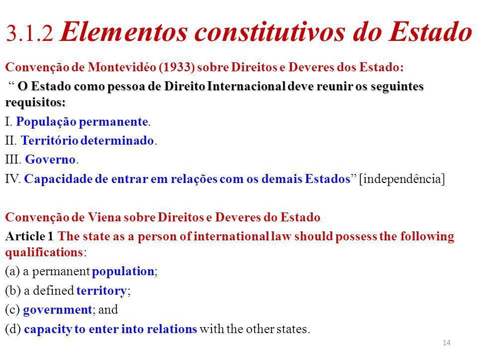 14 3.1.2 Elementos constitutivos do Estado Convenção de Montevidéo (1933) sobre Direitos e Deveres dos Estado: O Estado como pessoa de Direito Interna