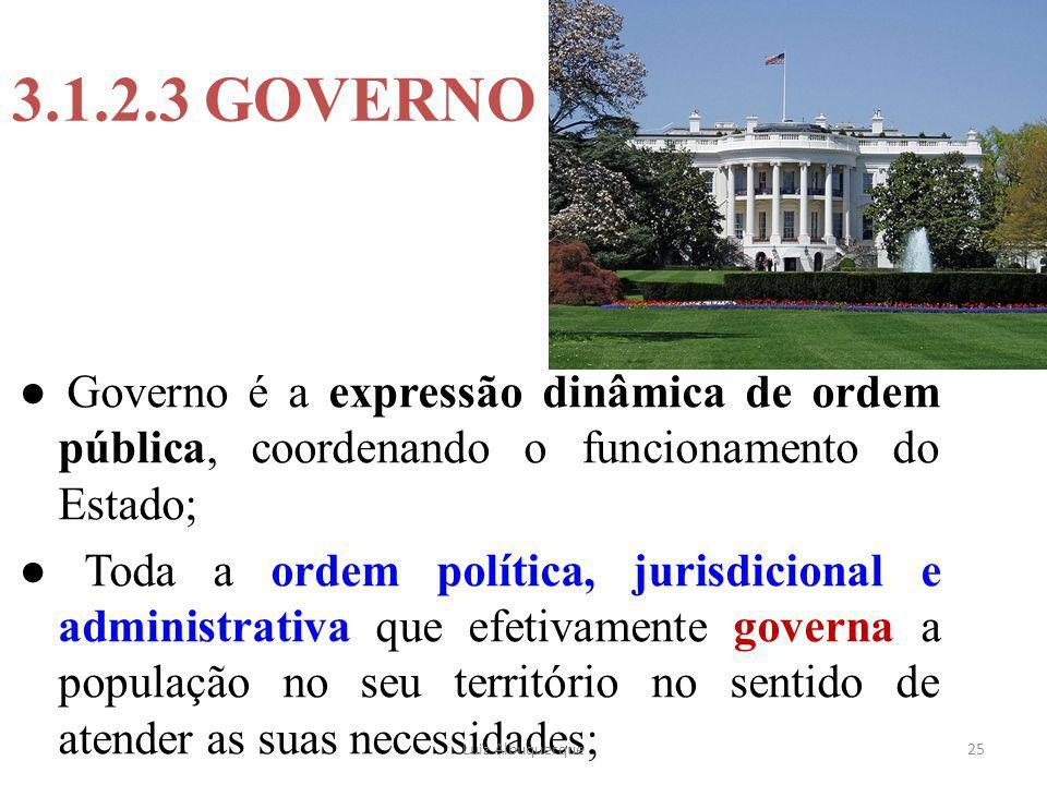 25 3.1.2.3 GOVERNO ● Governo é a expressão dinâmica de ordem pública, coordenando o funcionamento do Estado; ● Toda a ordem política, jurisdicional e
