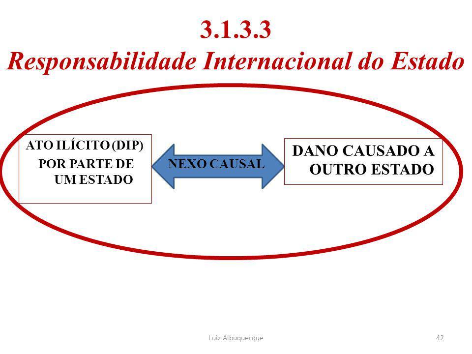 3.1.3.3 Responsabilidade Internacional do Estado ATO ILÍCITO (DIP) POR PARTE DE UM ESTADO DANO CAUSADO A OUTRO ESTADO 42 NEXO CAUSAL Luiz Albuquerque