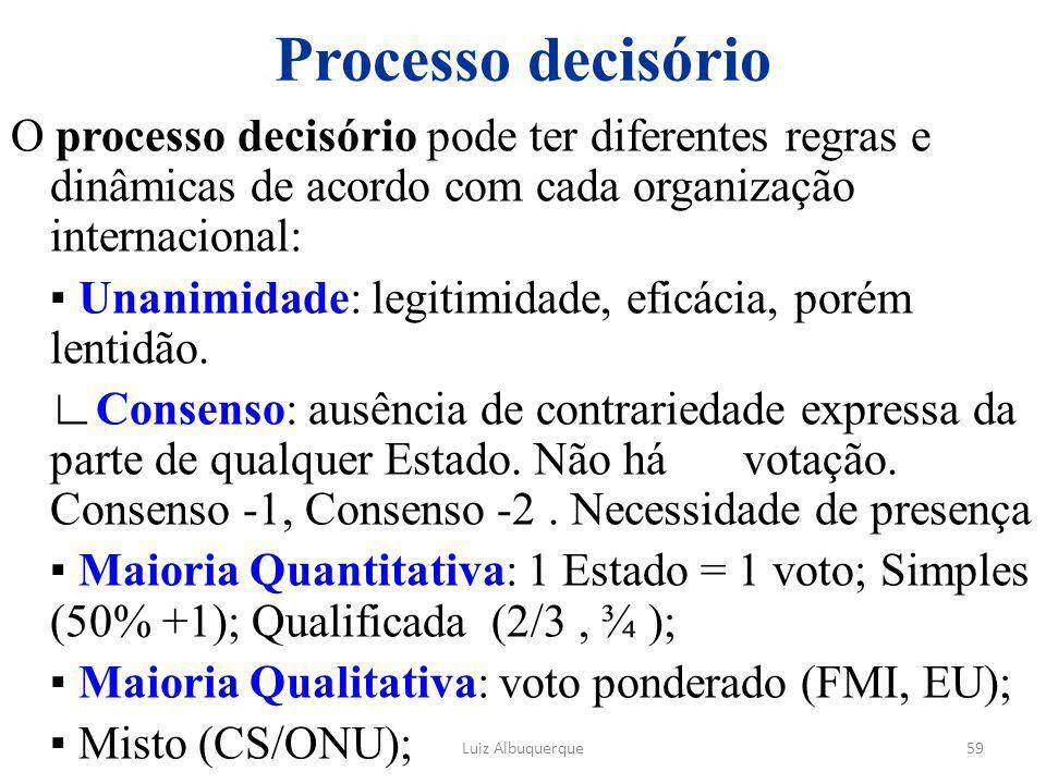 59 Processo decisório O processo decisório pode ter diferentes regras e dinâmicas de acordo com cada organização internacional: ▪ Unanimidade: legitim