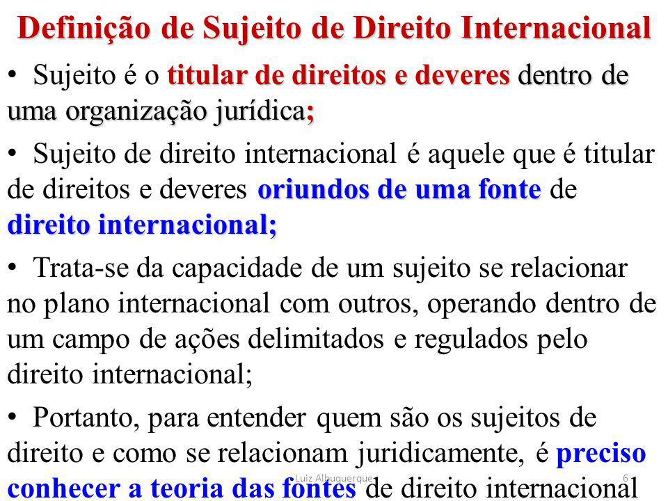 Definição de Sujeito de Direito Internacional titular de direitos e deveres dentro de uma organização jurídica; Sujeito é o titular de direitos e deve