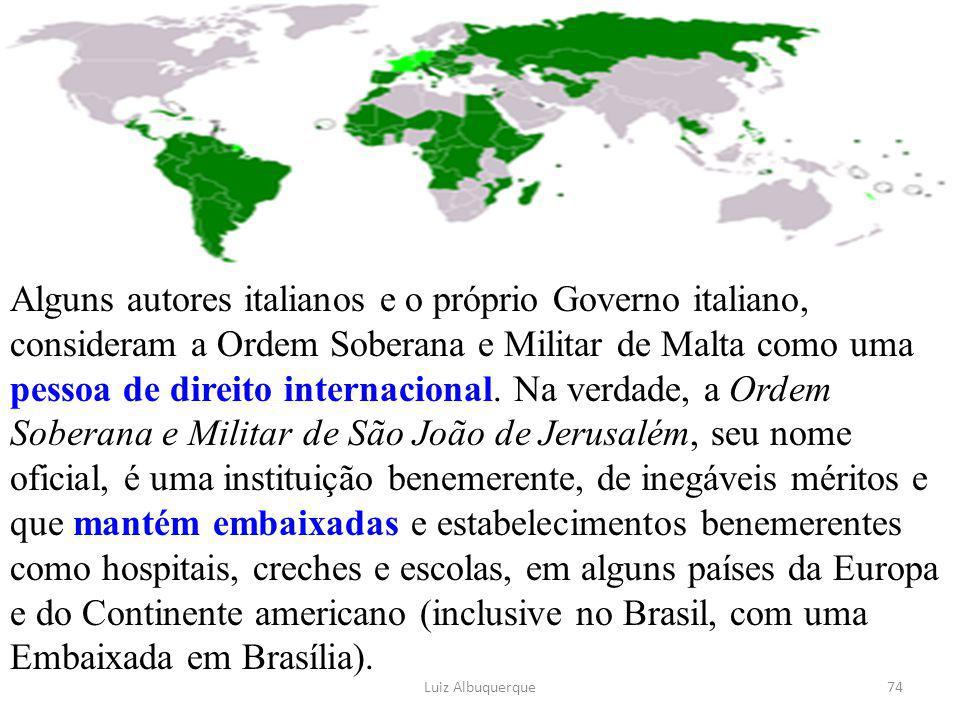 Alguns autores italianos e o próprio Governo italiano, consideram a Ordem Soberana e Militar de Malta como uma pessoa de direito internacional. Na ver