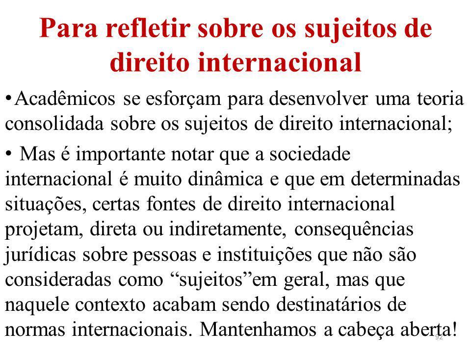 Para refletir sobre os sujeitos de direito internacional Acadêmicos se esforçam para desenvolver uma teoria consolidada sobre os sujeitos de direito i