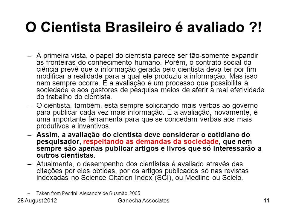 28 August 2012Ganesha Associates11 O Cientista Brasileiro é avaliado .