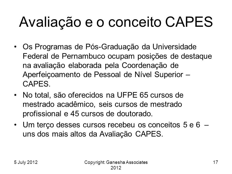 Avaliação e o conceito CAPES Os Programas de Pós-Graduação da Universidade Federal de Pernambuco ocupam posições de destaque na avaliação elaborada pela Coordenação de Aperfeiçoamento de Pessoal de Nível Superior – CAPES.