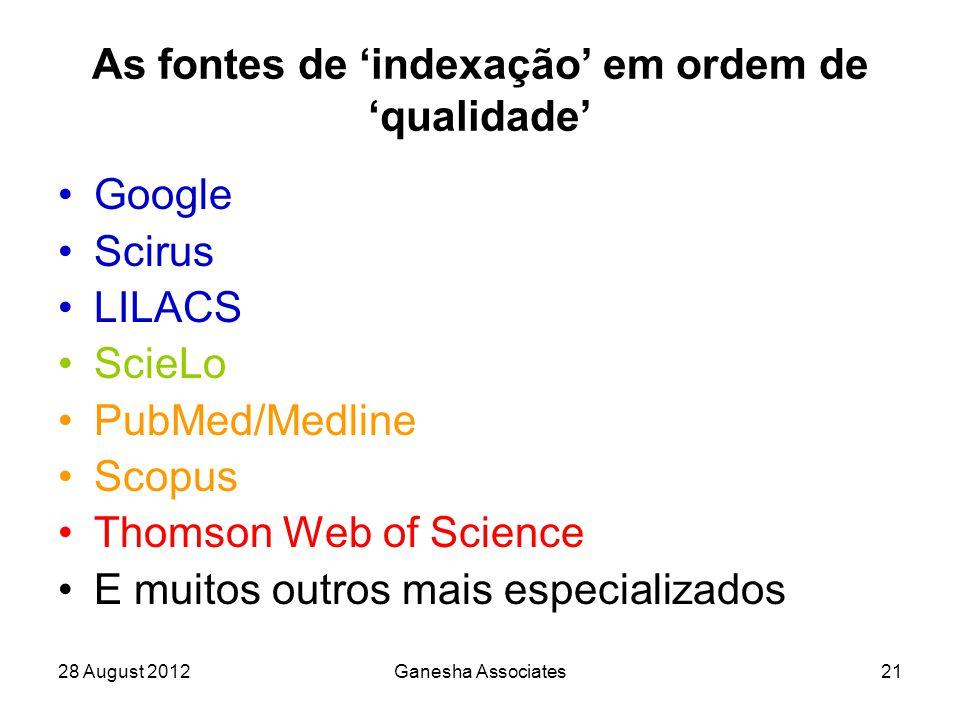 28 August 2012Ganesha Associates21 As fontes de 'indexação' em ordem de 'qualidade' Google Scirus LILACS ScieLo PubMed/Medline Scopus Thomson Web of Science E muitos outros mais especializados