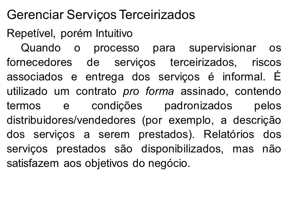 Gerenciar Serviços Terceirizados Repetível, porém Intuitivo Quando o processo para supervisionar os fornecedores de serviços terceirizados, riscos associados e entrega dos serviços é informal.