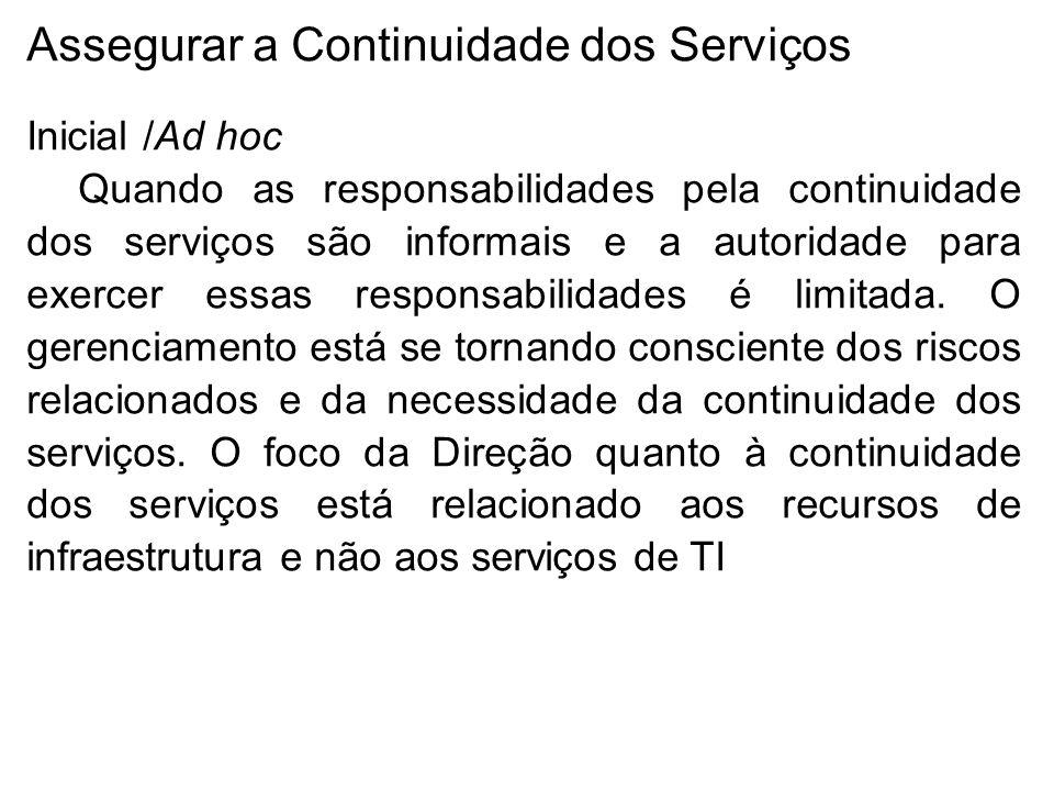 Inicial /Ad hoc Quando as responsabilidades pela continuidade dos serviços são informais e a autoridade para exercer essas responsabilidades é limitada.