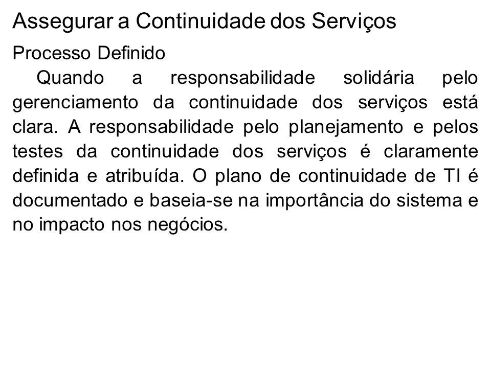 Assegurar a Continuidade dos Serviços Processo Definido Quando a responsabilidade solidária pelo gerenciamento da continuidade dos serviços está clara.