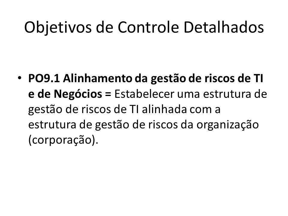 Objetivos de Controle Detalhados PO9.1 Alinhamento da gestão de riscos de TI e de Negócios = Estabelecer uma estrutura de gestão de riscos de TI alinhada com a estrutura de gestão de riscos da organização (corporação).