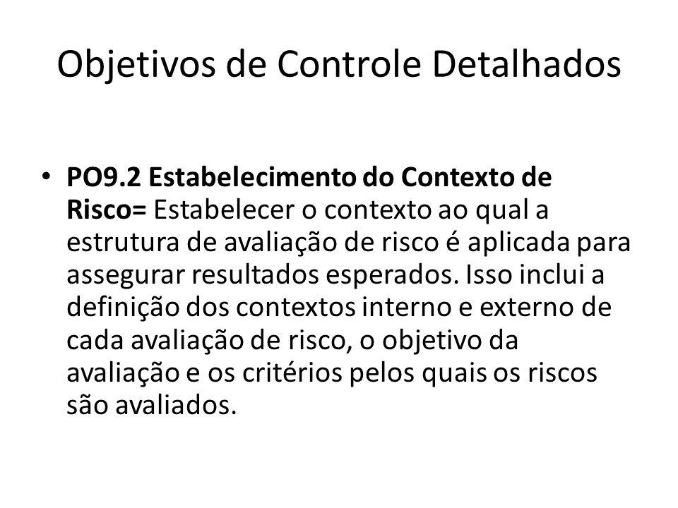 Objetivos de Controle Detalhados PO9.2 Estabelecimento do Contexto de Risco= Estabelecer o contexto ao qual a estrutura de avaliação de risco é aplicada para assegurar resultados esperados.