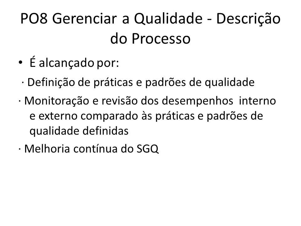 PO8 Gerenciar a Qualidade - Descrição do Processo É alcançado por: · Definição de práticas e padrões de qualidade · Monitoração e revisão dos desempenhos interno e externo comparado às práticas e padrões de qualidade definidas · Melhoria contínua do SGQ