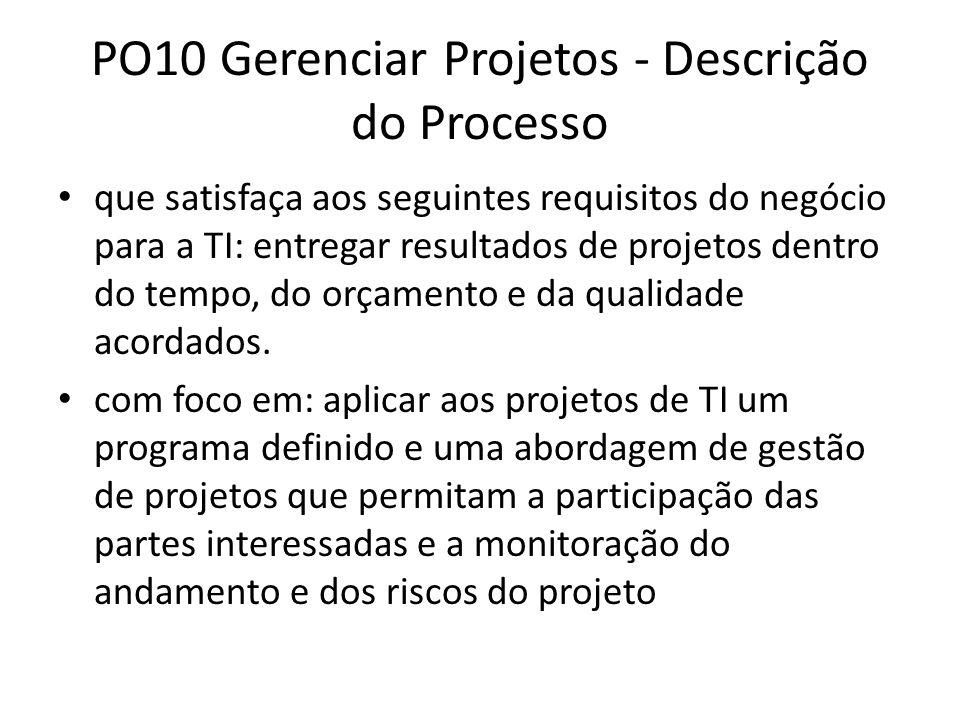 PO10 Gerenciar Projetos - Descrição do Processo que satisfaça aos seguintes requisitos do negócio para a TI: entregar resultados de projetos dentro do tempo, do orçamento e da qualidade acordados.