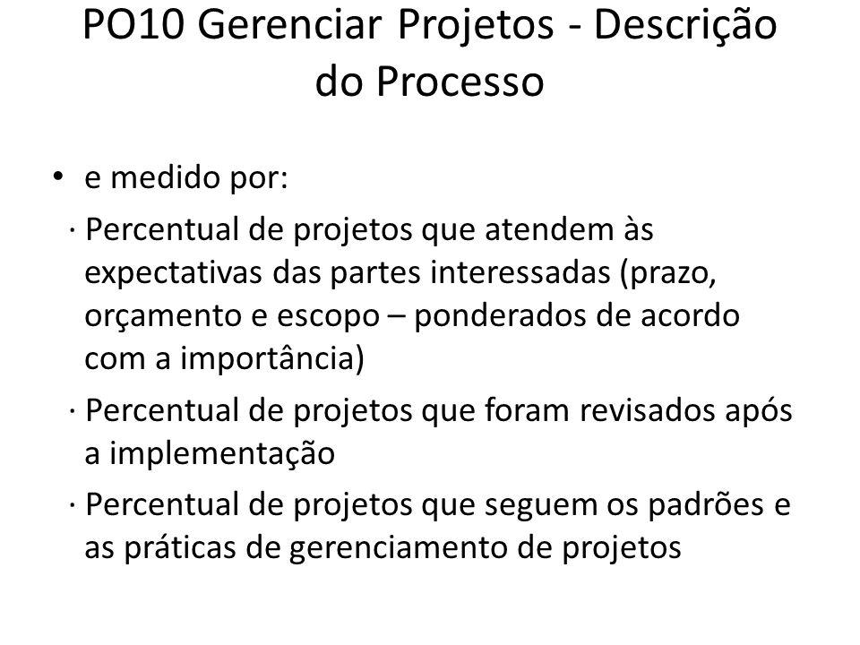 PO10 Gerenciar Projetos - Descrição do Processo e medido por: · Percentual de projetos que atendem às expectativas das partes interessadas (prazo, orçamento e escopo – ponderados de acordo com a importância) · Percentual de projetos que foram revisados após a implementação · Percentual de projetos que seguem os padrões e as práticas de gerenciamento de projetos