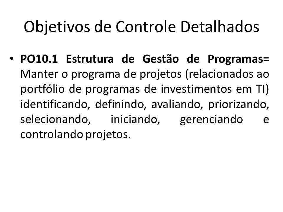Objetivos de Controle Detalhados PO10.1 Estrutura de Gestão de Programas= Manter o programa de projetos (relacionados ao portfólio de programas de investimentos em TI) identificando, definindo, avaliando, priorizando, selecionando, iniciando, gerenciando e controlando projetos.