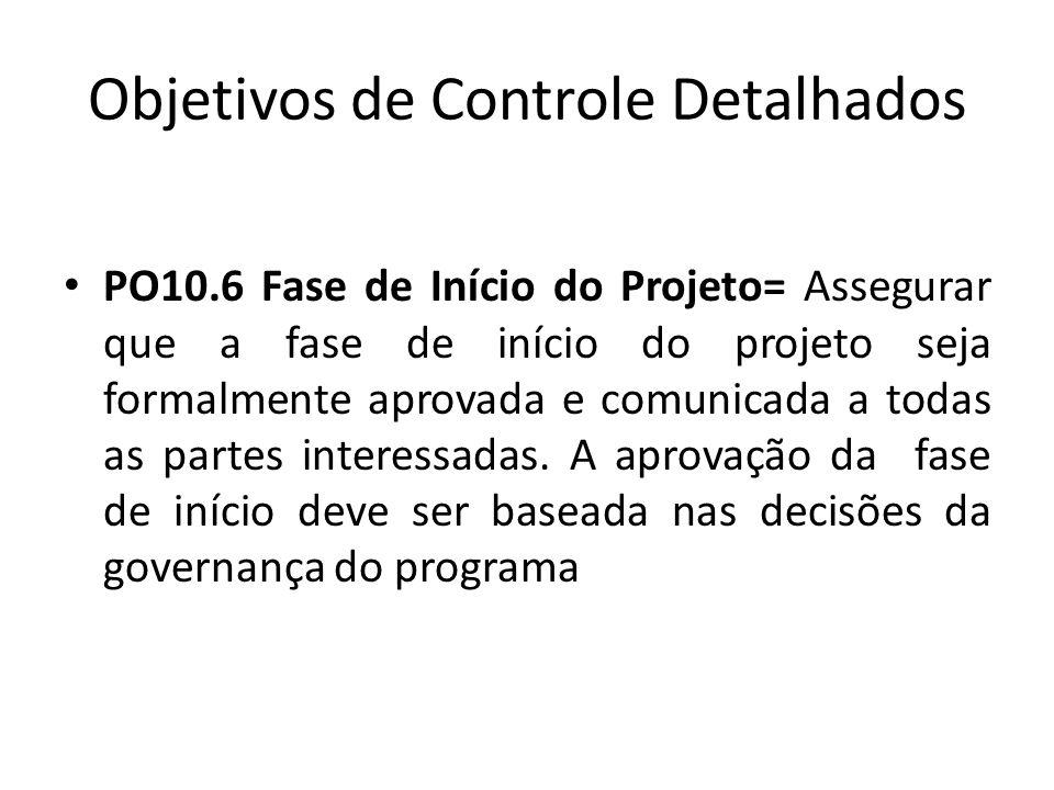 Objetivos de Controle Detalhados PO10.6 Fase de Início do Projeto= Assegurar que a fase de início do projeto seja formalmente aprovada e comunicada a todas as partes interessadas.