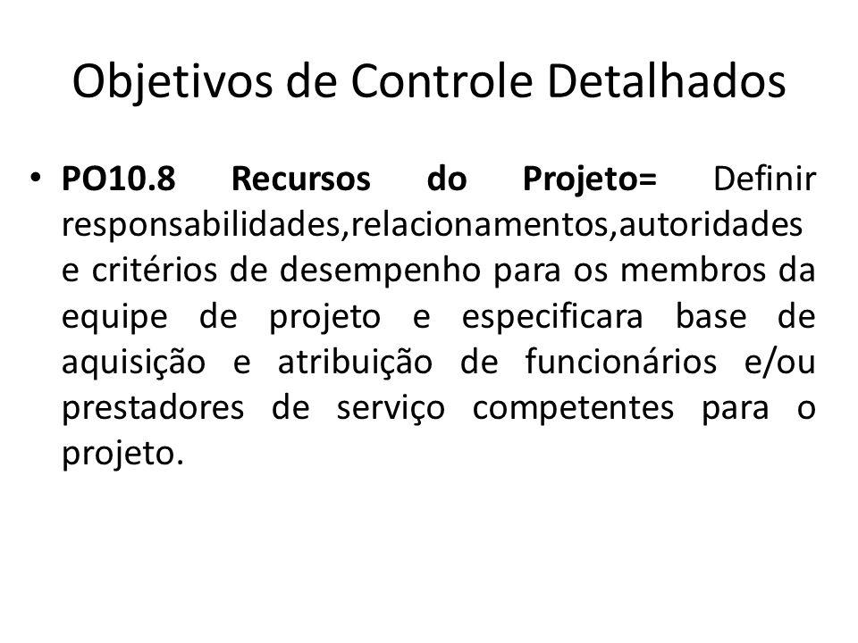 Objetivos de Controle Detalhados PO10.8 Recursos do Projeto= Definir responsabilidades,relacionamentos,autoridades e critérios de desempenho para os membros da equipe de projeto e especificara base de aquisição e atribuição de funcionários e/ou prestadores de serviço competentes para o projeto.