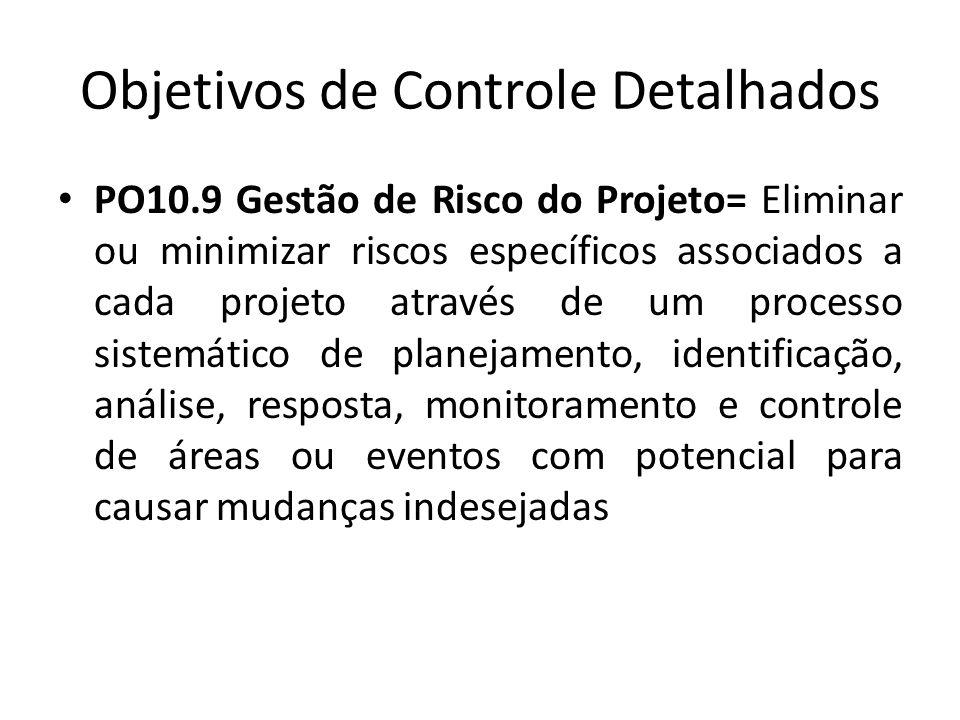 Objetivos de Controle Detalhados PO10.9 Gestão de Risco do Projeto= Eliminar ou minimizar riscos específicos associados a cada projeto através de um processo sistemático de planejamento, identificação, análise, resposta, monitoramento e controle de áreas ou eventos com potencial para causar mudanças indesejadas