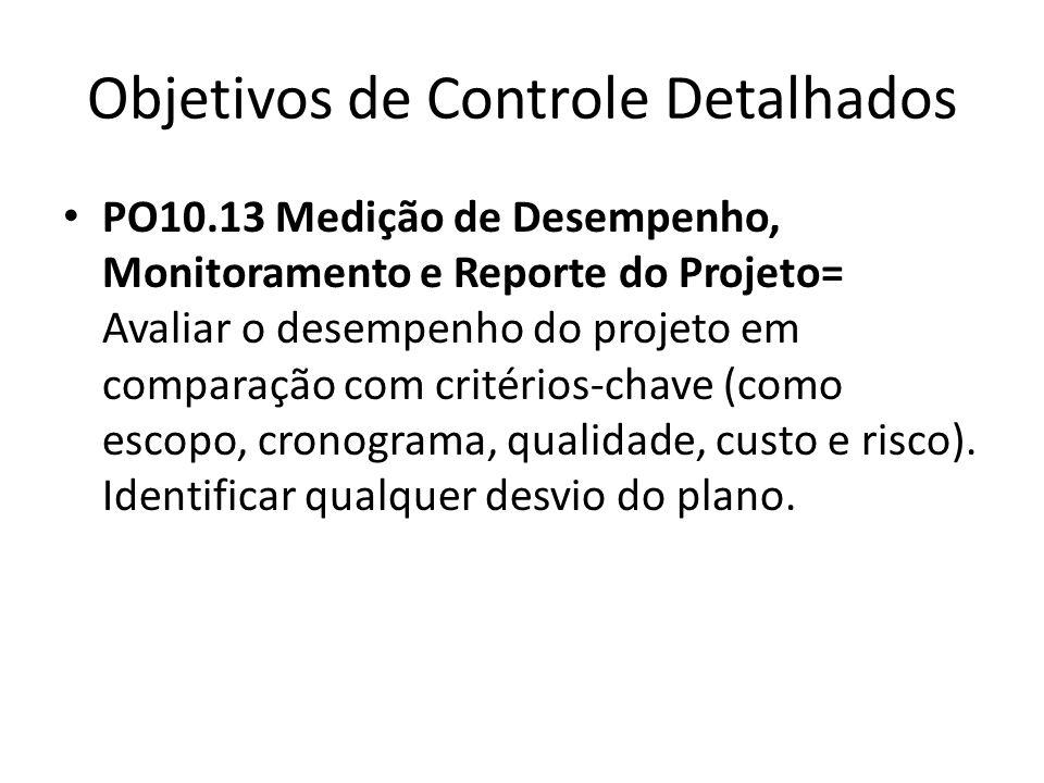 Objetivos de Controle Detalhados PO10.13 Medição de Desempenho, Monitoramento e Reporte do Projeto= Avaliar o desempenho do projeto em comparação com critérios-chave (como escopo, cronograma, qualidade, custo e risco).