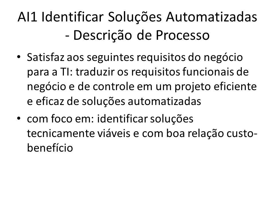 AI1 Identificar Soluções Automatizadas - Descrição de Processo Satisfaz aos seguintes requisitos do negócio para a TI: traduzir os requisitos funcionais de negócio e de controle em um projeto eficiente e eficaz de soluções automatizadas com foco em: identificar soluções tecnicamente viáveis e com boa relação custo- benefício